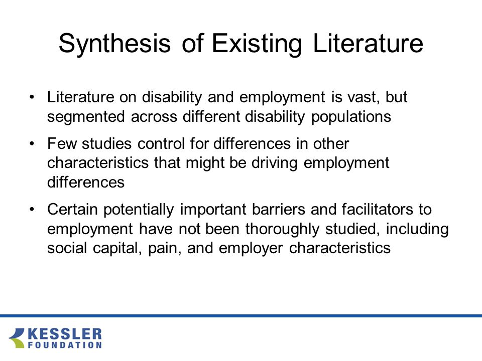 Synthesis of Existing Literature Literature on disability and employment is vast, but segmented across different disability populations Few studies control for differences in other characteristics that might be driving employment differences Certain potentially important barriers and facilitators to employment have not been thoroughly studied, including social capital, pain, and employer characteristics