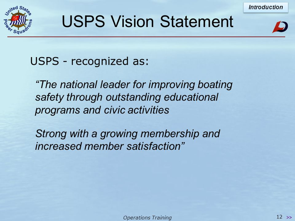 Operations Training The USPS Triangle The graphic representation of USPS Mission Introduction 11 >>