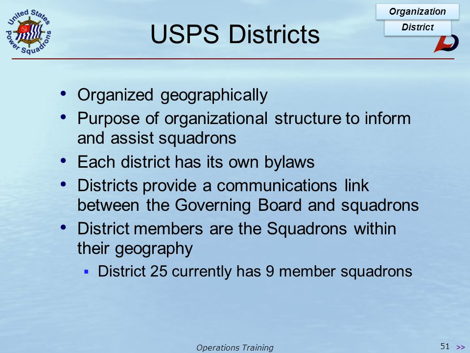 Operations Training USPS Districts District Organization 50 >>