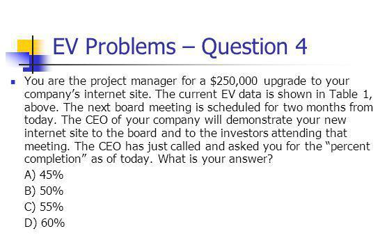 EV Problems – Question 4 You are the project manager for a $250,000 upgrade to your company's internet site.