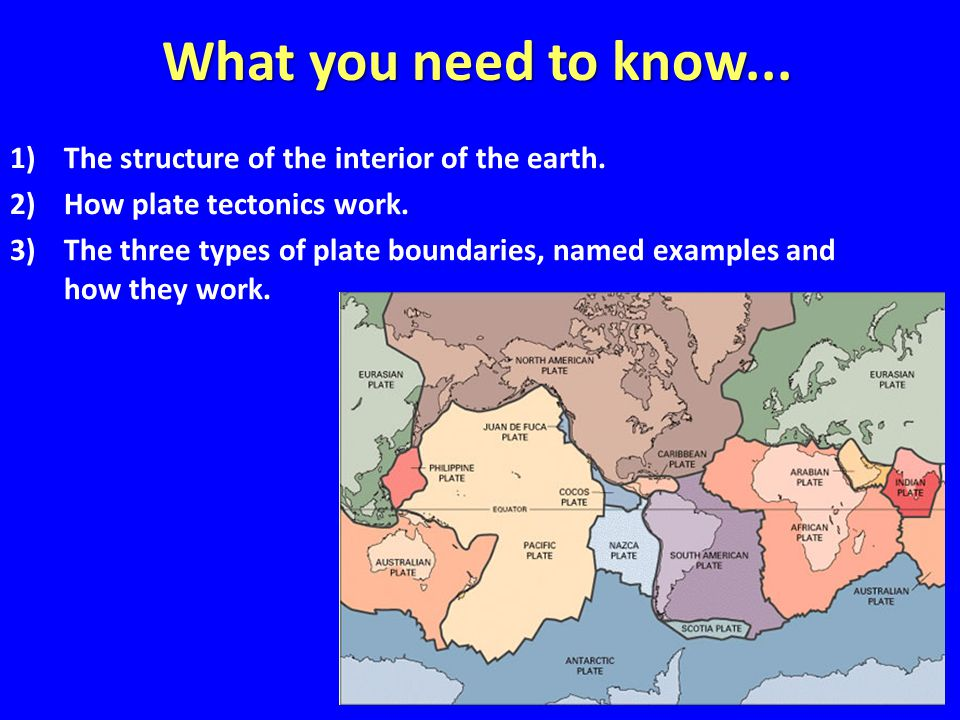 What you need to know... 1)The structure of the interior of the earth.