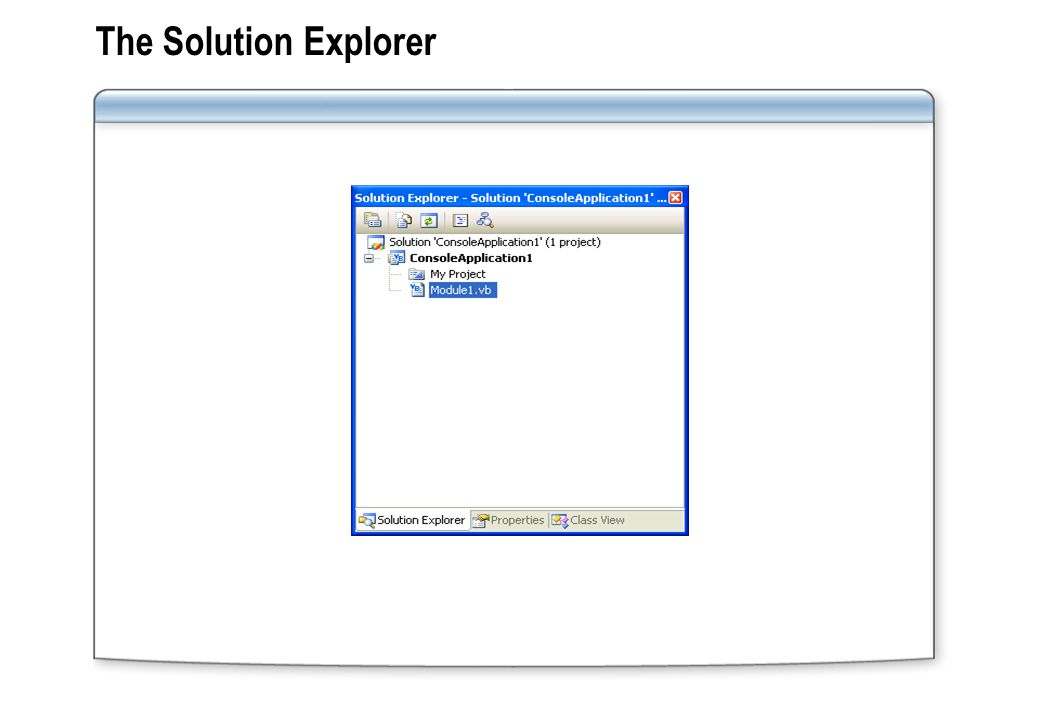 The Solution Explorer