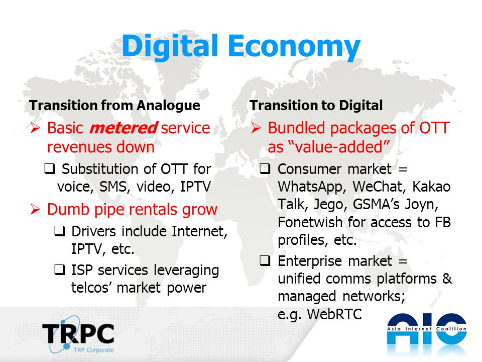 Digital Economy Transition from Analogue  Basic metered service revenues down  Substitution of OTT for voice, SMS, video, IPTV  Dumb pipe rentals grow  Drivers include Internet, IPTV, etc.