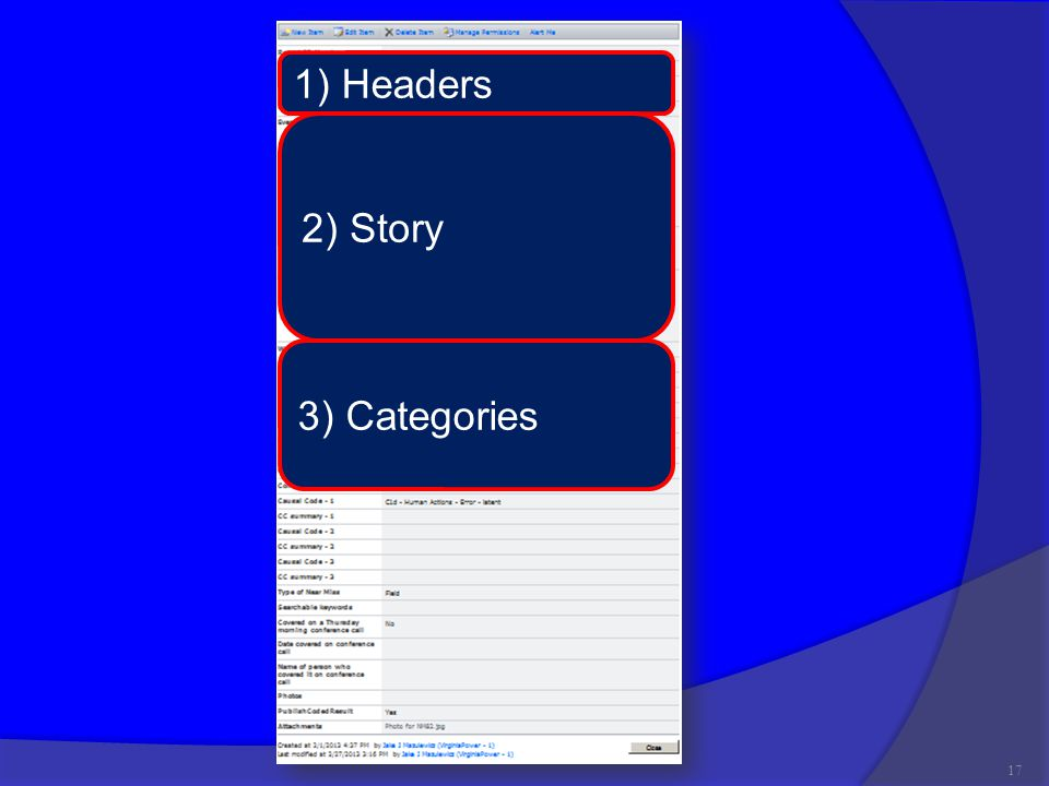 17 1) Headers 2) Story 3) Categories