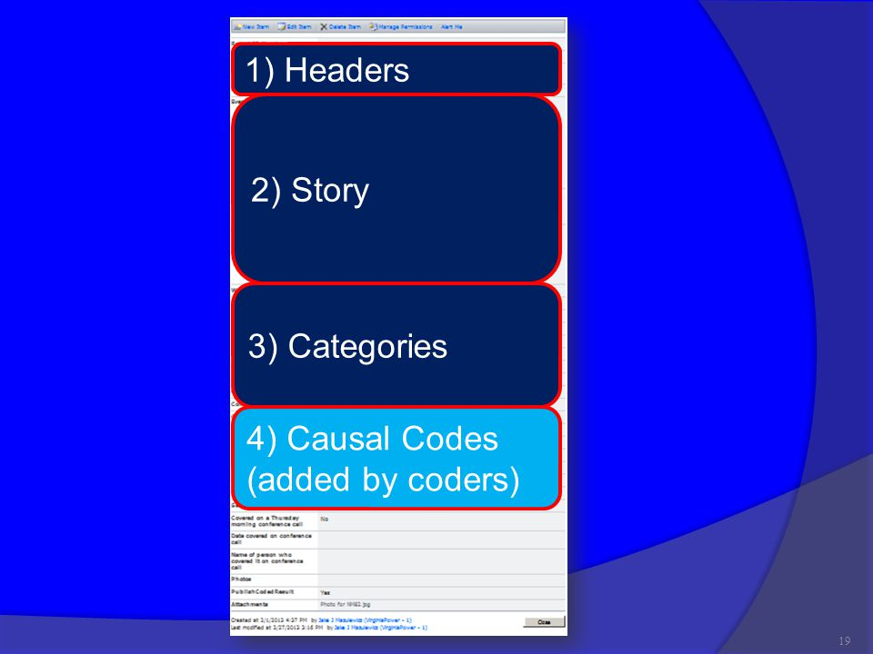 19 1) Headers 2) Story 3) Categories 4) Causal Codes (added by coders)