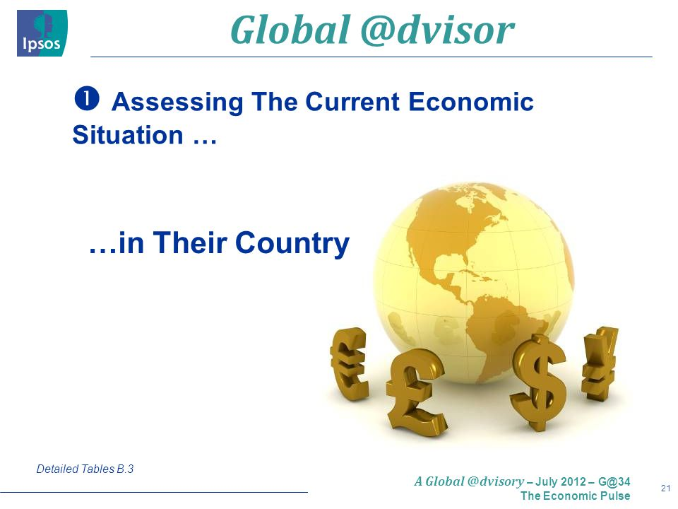 21 A Global @dvisory – July 2012 – G@34 The Economic Pulse  Assessing The Current Economic Situation … Detailed Tables B.3 …in Their Country Global @dvisor