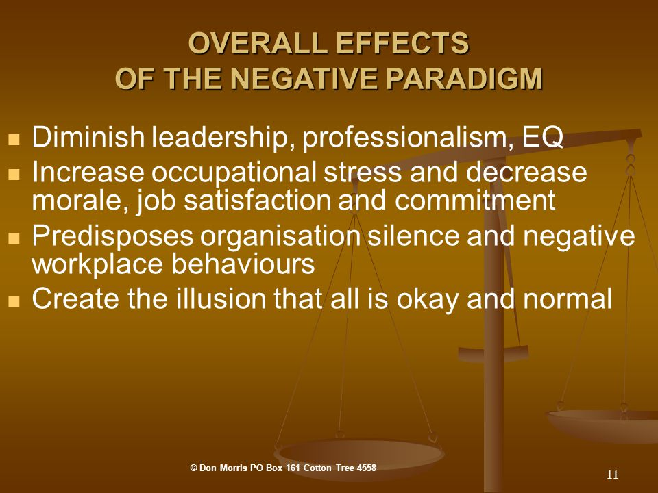 11 OVERALL EFFECTS OF THE NEGATIVE PARADIGM Diminish leadership, professionalism, EQ Increase occupational stress and decrease morale, job satisfaction and commitment Predisposes organisation silence and negative workplace behaviours Create the illusion that all is okay and normal © Don Morris PO Box 161 Cotton Tree 4558
