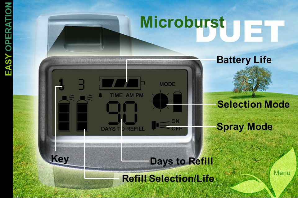 DUET Microburst Menu Battery Life Selection Mode Spray Mode Days to Refill Refill Selection/Life Key EASY OPERATION