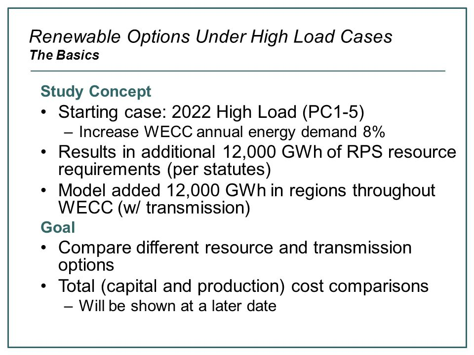 Renewable Options Under High Load Cases The Basics Study Concept Starting case: 2022 High Load (PC1-5) –Increase WECC annual energy demand 8% Results in additional 12,000 GWh of RPS resource requirements (per statutes) Model added 12,000 GWh in regions throughout WECC (w/ transmission) Goal Compare different resource and transmission options Total (capital and production) cost comparisons –Will be shown at a later date
