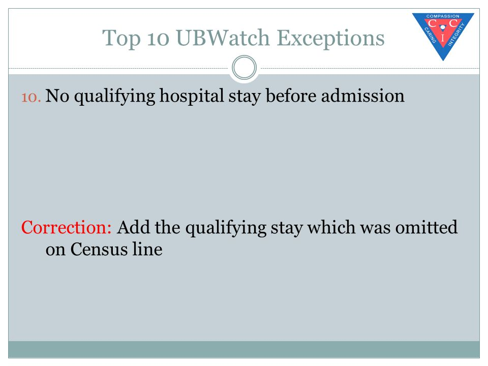 Top 10 UBWatch Exceptions 10.