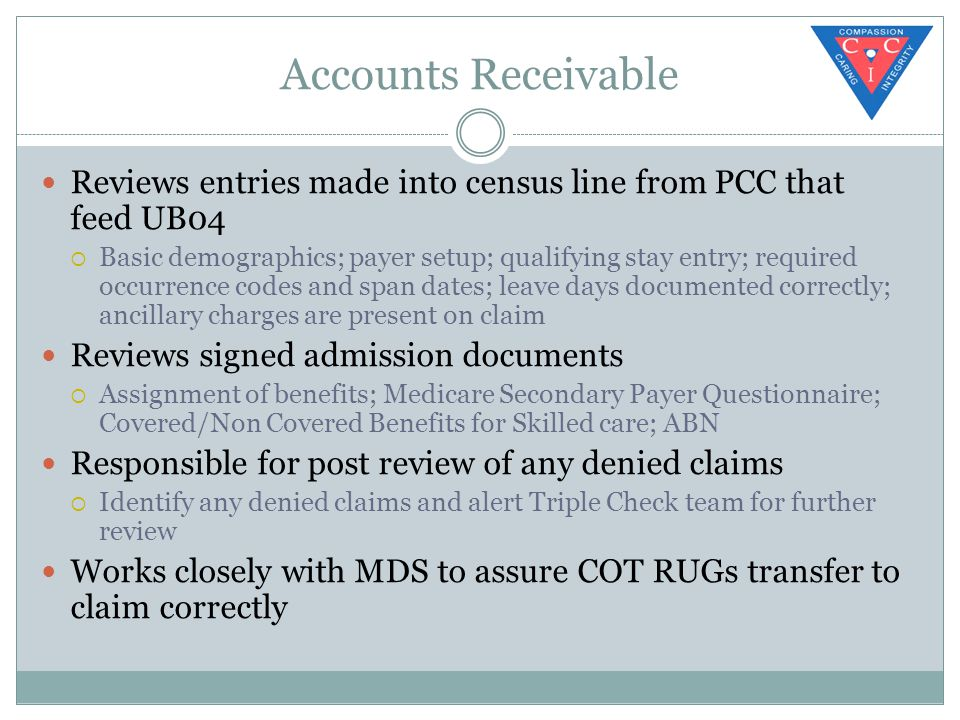 Accounts Receivable Reviews entries made into census line from PCC that feed UB04  Basic demographics; payer setup; qualifying stay entry; required occurrence codes and span dates; leave days documented correctly; ancillary charges are present on claim Reviews signed admission documents  Assignment of benefits; Medicare Secondary Payer Questionnaire; Covered/Non Covered Benefits for Skilled care; ABN Responsible for post review of any denied claims  Identify any denied claims and alert Triple Check team for further review Works closely with MDS to assure COT RUGs transfer to claim correctly