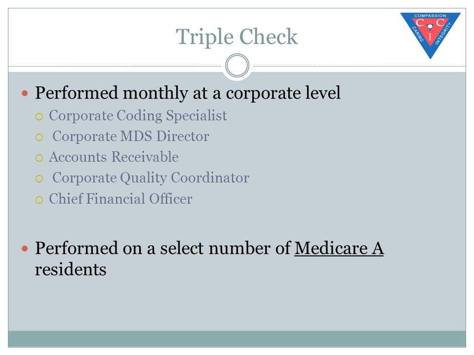 Triple Check Performed monthly at a corporate level  Corporate Coding Specialist  Corporate MDS Director  Accounts Receivable  Corporate Quality Coordinator  Chief Financial Officer Performed on a select number of Medicare A residents