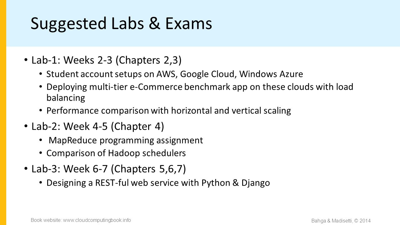 Suggested Labs & Exams Lab-1: Weeks 2-3 (Chapters 2,3) Student account setups on AWS, Google Cloud, Windows Azure Deploying multi-tier e-Commerce benchmark app on these clouds with load balancing Performance comparison with horizontal and vertical scaling Lab-2: Week 4-5 (Chapter 4) MapReduce programming assignment Comparison of Hadoop schedulers Lab-3: Week 6-7 (Chapters 5,6,7) Designing a REST-ful web service with Python & Django Bahga & Madisetti, © 2014 Book website: www.cloudcomputingbook.info