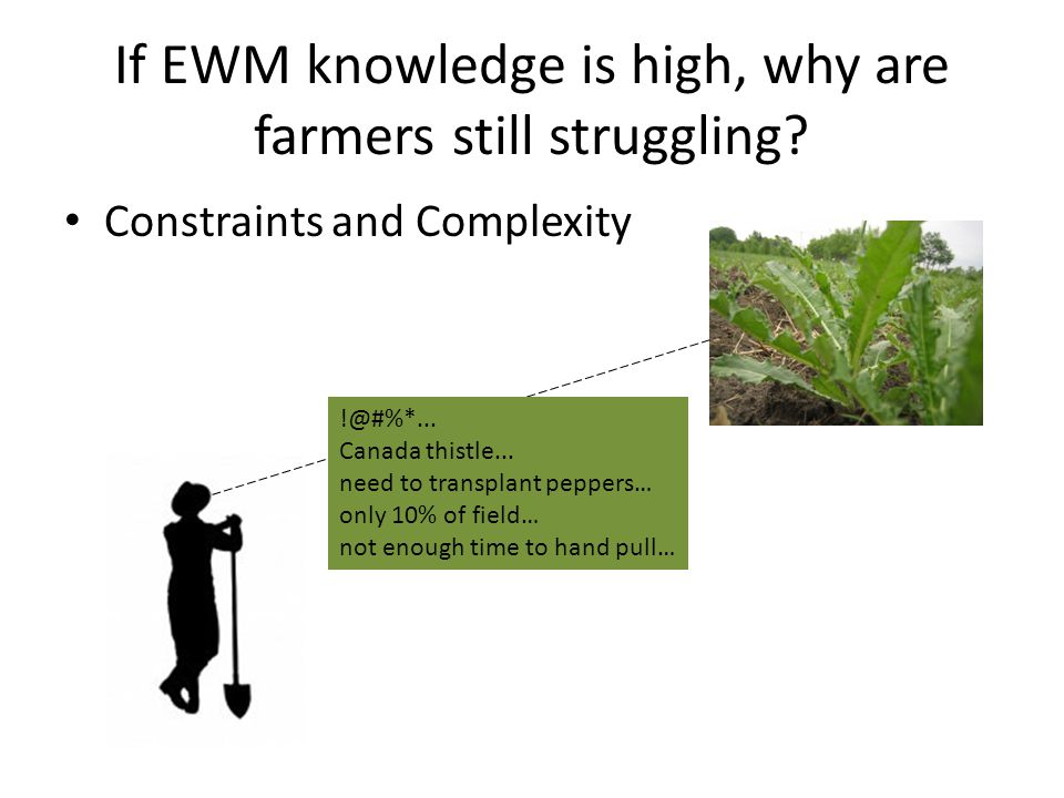 If EWM knowledge is high, why are farmers still struggling.