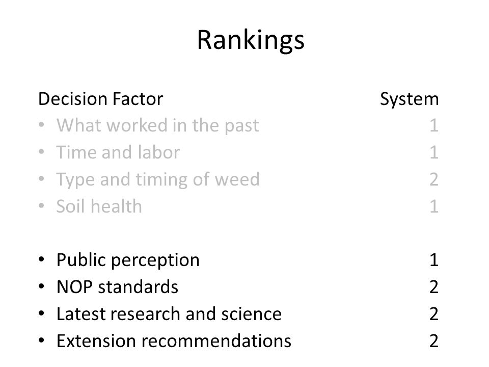 Rankings Decision FactorSystem What worked in the past1 Time and labor1 Type and timing of weed2 Soil health1 Public perception1 NOP standards2 Latest research and science2 Extension recommendations2