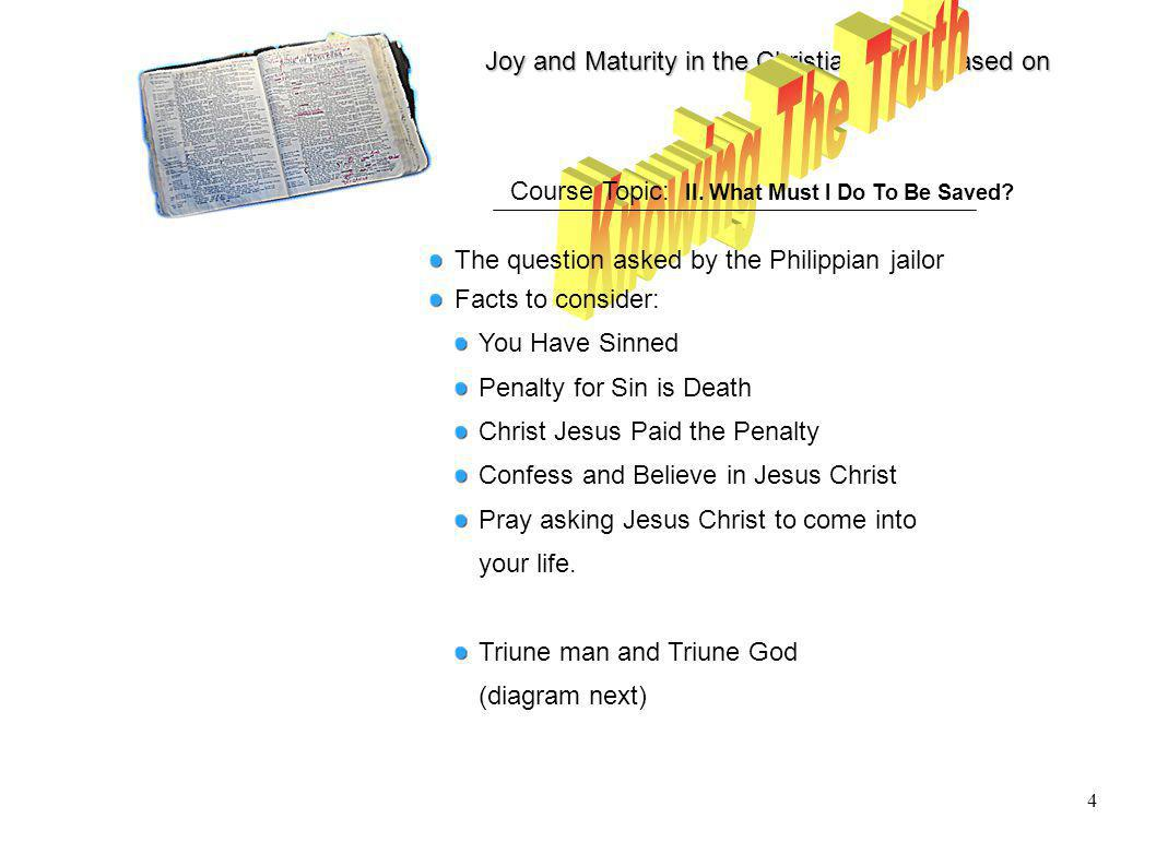 Joy and Maturity in the Christian Life is based on 4 Course Topic: II.