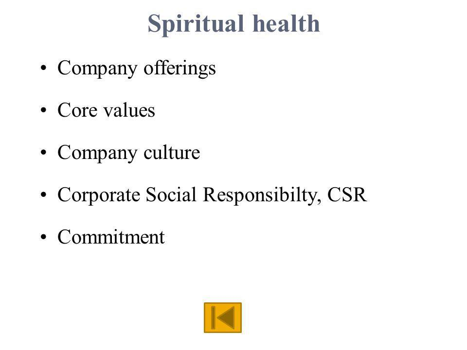 Spiritual health Company offerings Core values Company culture Corporate Social Responsibilty, CSR Commitment