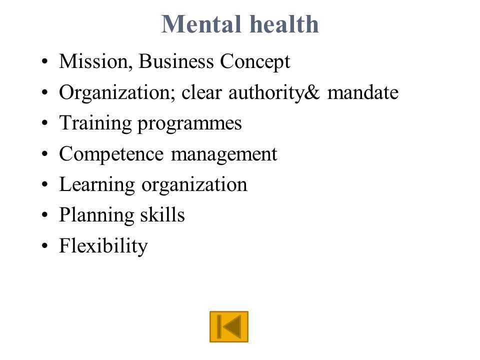 Mental health Mission, Business Concept Organization; clear authority& mandate Training programmes Competence management Learning organization Planning skills Flexibility