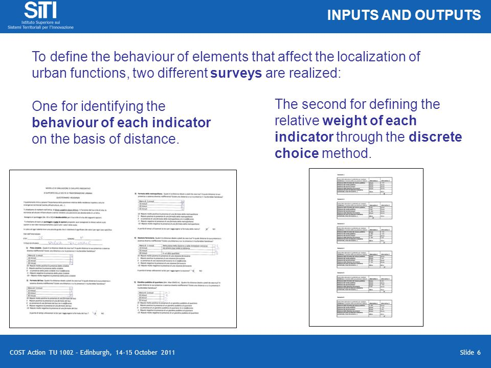 Slide 6 COST Action TU 1002 – Edinburgh, 14-15 October 2011 To define the behaviour of elements that affect the localization of urban functions, two different surveys are realized: One for identifying the behaviour of each indicator on the basis of distance.