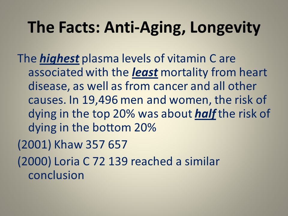 The Facts: Anti-Aging, Longevity The highest plasma levels of vitamin C are associated with the least mortality from heart disease, as well as from cancer and all other causes.