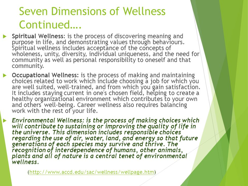 Seven Dimensions of Wellness Continued….