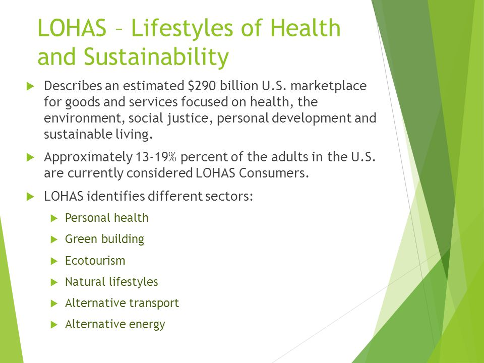 LOHAS – Lifestyles of Health and Sustainability  Describes an estimated $290 billion U.S.
