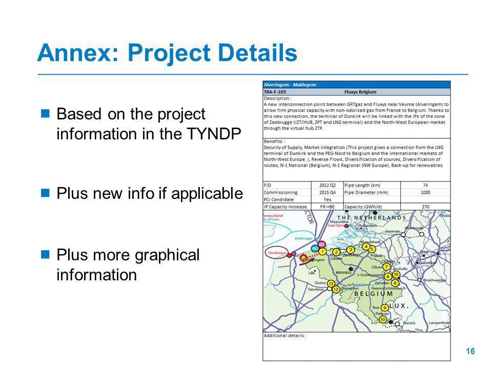 Annex: Project Details  Based on the project information in the TYNDP  Plus new info if applicable  Plus more graphical information 16