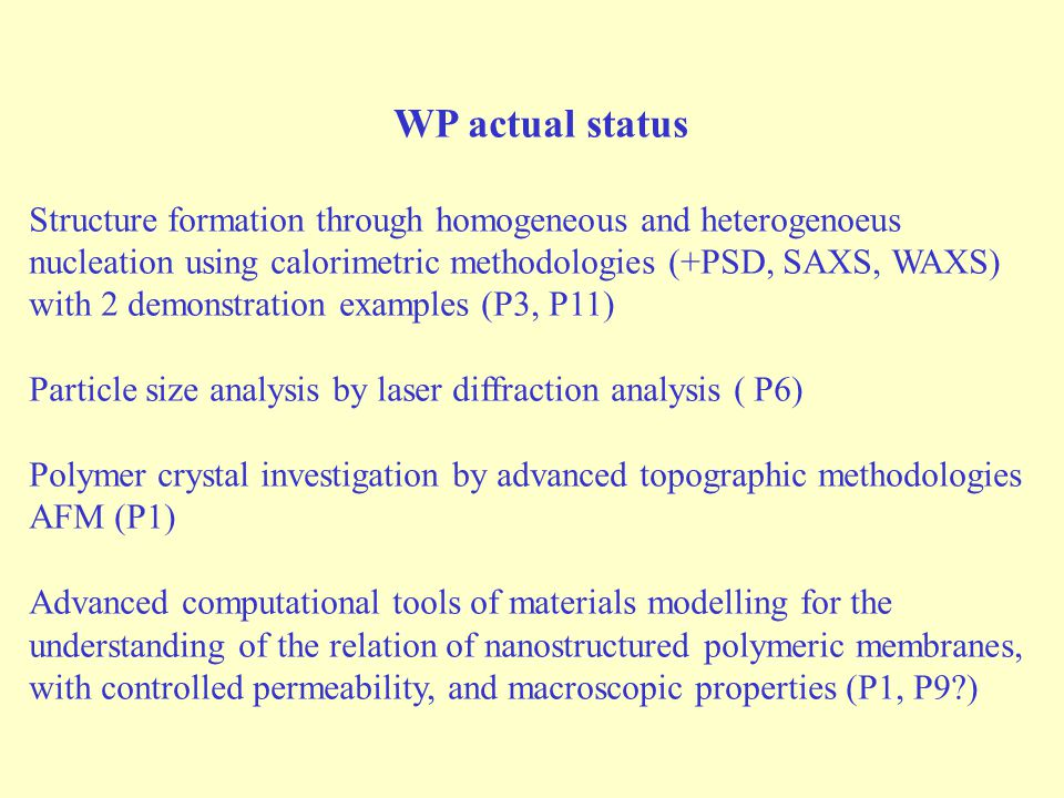 WP actual status Structure formation through homogeneous and heterogenoeus nucleation using calorimetric methodologies (+PSD, SAXS, WAXS) with 2 demonstration examples (P3, P11) Particle size analysis by laser diffraction analysis ( P6) Polymer crystal investigation by advanced topographic methodologies AFM (P1) Advanced computational tools of materials modelling for the understanding of the relation of nanostructured polymeric membranes, with controlled permeability, and macroscopic properties (P1, P9 )