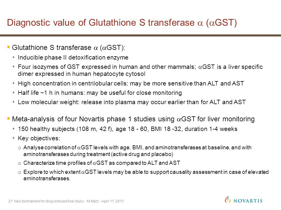 21 Diagnostic value of Glutathione S transferase  (  GST) New biomarkers for drug-induced liver injury - M Merz - April 11, 2013  Glutathione S transferase  (  GST): Inducible phase II detoxification enzyme Four isozymes of GST expressed in human and other mammals;  GST is a liver specific dimer expressed in human hepatocyte cytosol High concentration in centrilobular cells: may be more sensitive than ALT and AST Half life ~1 h in humans: may be useful for close monitoring Low molecular weight: release into plasma may occur earlier than for ALT and AST  Meta-analysis of four Novartis phase 1 studies using  GST for liver monitoring 150 healthy subjects (108 m, 42 f), age 18 - 60, BMI 18 -32, duration 1-4 weeks Key objectives: o Analyse correlation of  GST levels with age, BMI, and aminotransferases at baseline, and with aminotransferases during treatment (active drug and placebo) o Characterize time profiles of  GST as compared to ALT and AST o Explore to which extent  GST levels may be able to support causality assessment in case of elevated aminotransferases.