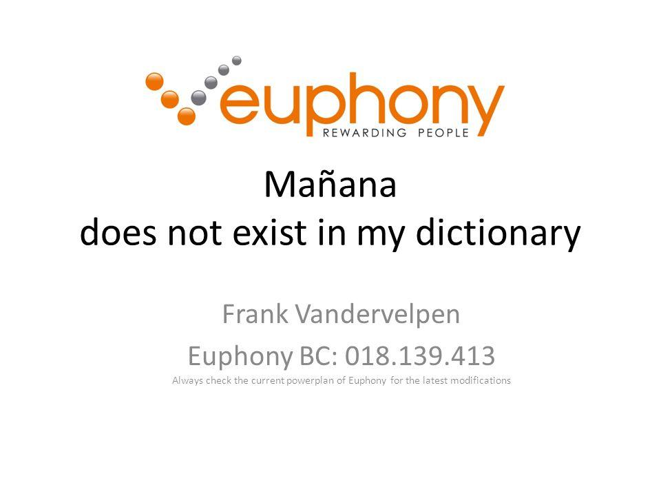 Mañana does not exist in my dictionary Frank Vandervelpen