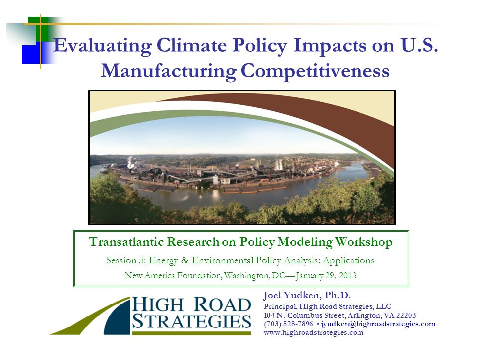 Evaluating Climate Policy Impacts on U.S.