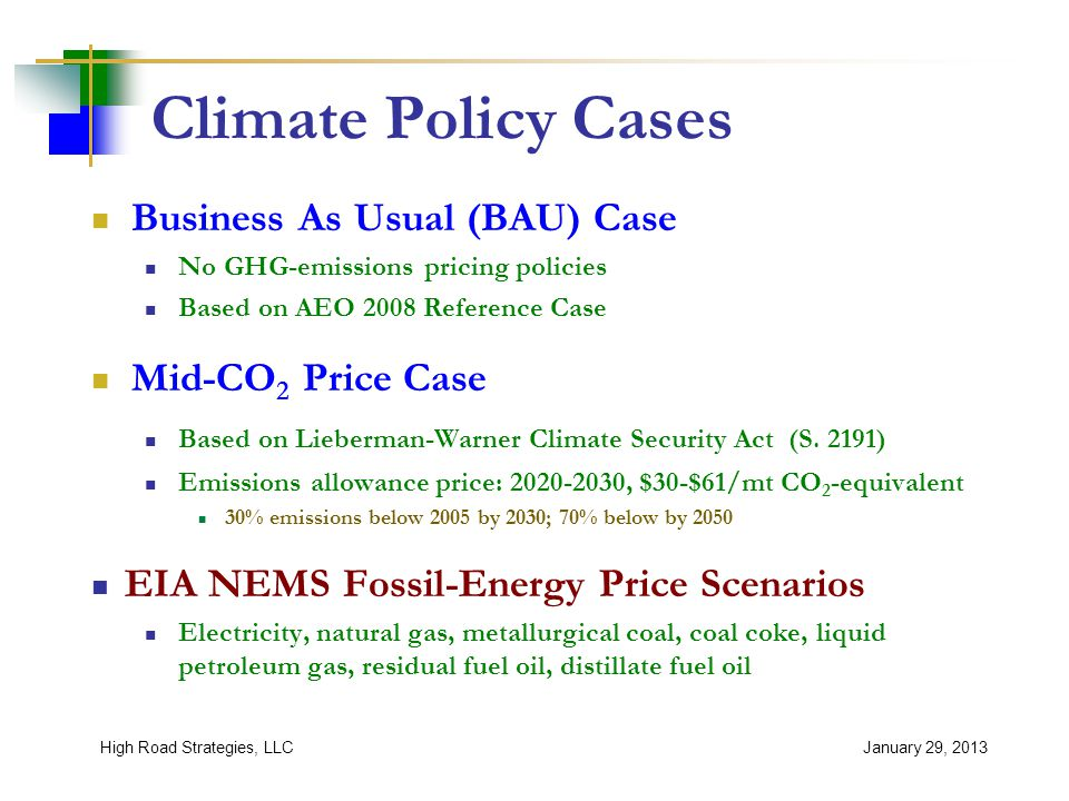 Climate Policy Cases Business As Usual (BAU) Case No GHG-emissions pricing policies Based on AEO 2008 Reference Case Mid-CO 2 Price Case Based on Lieberman-Warner Climate Security Act (S.