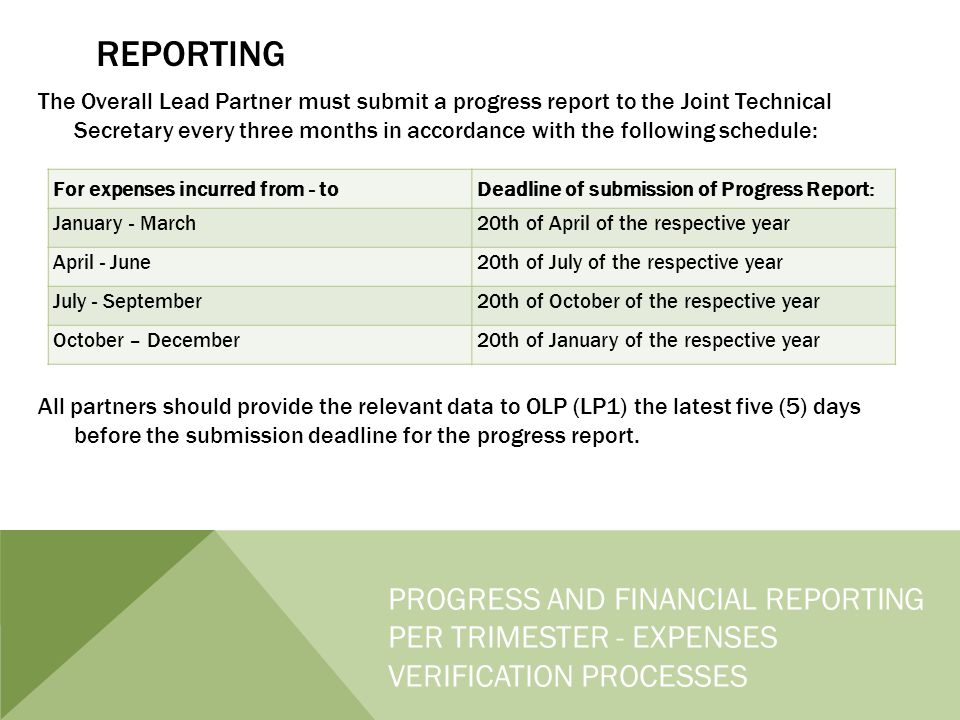REPORTING The Overall Lead Partner must submit a progress report to the Joint Technical Secretary every three months in accordance with the following schedule: All partners should provide the relevant data to OLP (LP1) the latest five (5) days before the submission deadline for the progress report.