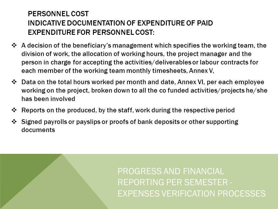 PERSONNEL COST INDICATIVE DOCUMENTATION OF EXPENDITURE OF PAID EXPENDITURE FOR PERSONNEL COST:  A decision of the beneficiary's management which specifies the working team, the division of work, the allocation of working hours, the project manager and the person in charge for accepting the activities/deliverables or labour contracts for each member of the working team monthly timesheets, Annex V,  Data on the total hours worked per month and date, Annex VI, per each employee working on the project, broken down to all the co funded activities/projects he/she has been involved  Reports on the produced, by the staff, work during the respective period  Signed payrolls or payslips or proofs of bank deposits or other supporting documents PROGRESS AND FINANCIAL REPORTING PER SEMESTER - EXPENSES VERIFICATION PROCESSES