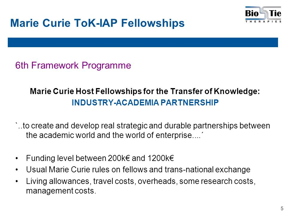 5 Marie Curie ToK-IAP Fellowships 6th Framework Programme Marie Curie Host Fellowships for the Transfer of Knowledge: INDUSTRY-ACADEMIA PARTNERSHIP `..to create and develop real strategic and durable partnerships between the academic world and the world of enterprise....´ Funding level between 200k€ and 1200k€ Usual Marie Curie rules on fellows and trans-national exchange Living allowances, travel costs, overheads, some research costs, management costs.