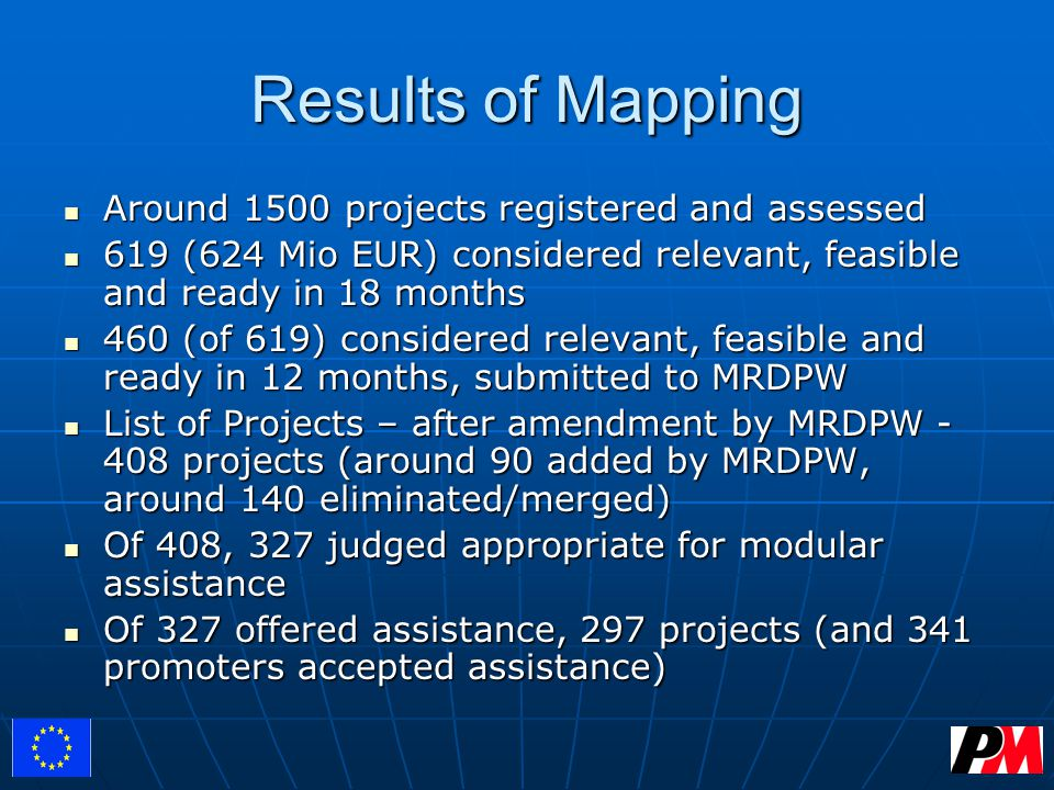 Results of Mapping Around 1500 projects registered and assessed Around 1500 projects registered and assessed 619 (624 Mio EUR) considered relevant, feasible and ready in 18 months 619 (624 Mio EUR) considered relevant, feasible and ready in 18 months 460 (of 619) considered relevant, feasible and ready in 12 months, submitted to MRDPW 460 (of 619) considered relevant, feasible and ready in 12 months, submitted to MRDPW List of Projects – after amendment by MRDPW - 408 projects (around 90 added by MRDPW, around 140 eliminated/merged) List of Projects – after amendment by MRDPW - 408 projects (around 90 added by MRDPW, around 140 eliminated/merged) Of 408, 327 judged appropriate for modular assistance Of 408, 327 judged appropriate for modular assistance Of 327 offered assistance, 297 projects (and 341 promoters accepted assistance) Of 327 offered assistance, 297 projects (and 341 promoters accepted assistance)