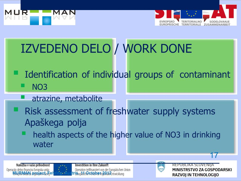 IZVEDENO DELO / WORK DONE  Identification of individual groups of contaminant  NO3  atrazine, metabolite  Risk assessment of freshwater supply systems Apaškega polja  health aspects of the higher value of NO3 in drinking water MURMAN project, Fehring, Austria, 11 October 2012 17