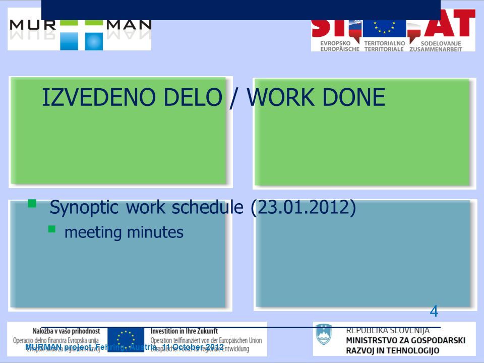IZVEDENO DELO / WORK DONE  Synoptic work schedule (23.01.2012)  meeting minutes MURMAN project, Fehring, Austria, 11 October 2012 4