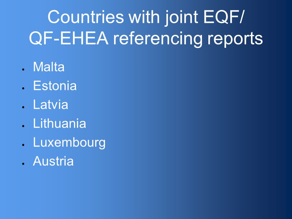Countries with joint EQF/ QF-EHEA referencing reports  Malta  Estonia  Latvia  Lithuania  Luxembourg  Austria