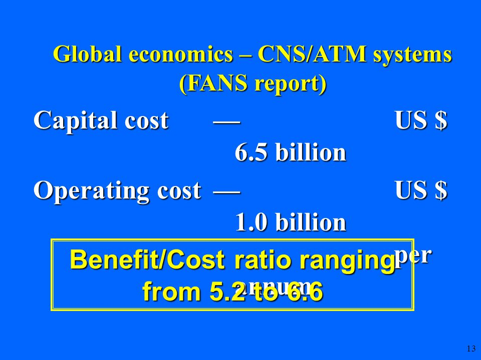 13 Capital cost—US $ 6.5 billion Operating cost—US $ 1.0 billion per annum Benefit/Cost ratio ranging from 5.2 to 6.6 Global economics – CNS/ATM systems (FANS report)