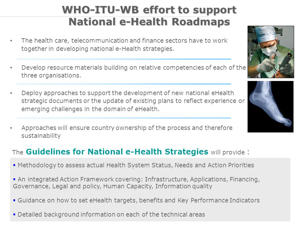 13 WHO-ITU-WB effort to support National e-Health Roadmaps The health care, telecommunication and finance sectors have to work together in developing national e-Health strategies.