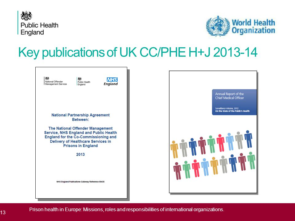 Key publications of UK CC/PHE H+J 2013-14 13 Prison health in Europe: Missions, roles and responsibilities of international organizations.