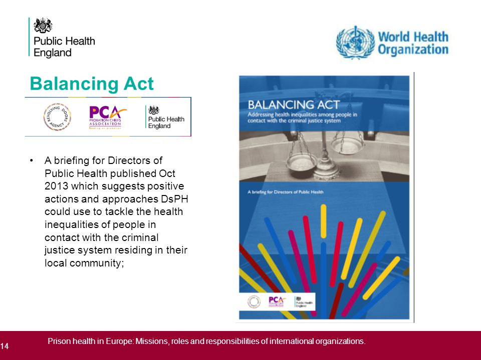 Balancing Act A briefing for Directors of Public Health published Oct 2013 which suggests positive actions and approaches DsPH could use to tackle the health inequalities of people in contact with the criminal justice system residing in their local community; 14 Prison health in Europe: Missions, roles and responsibilities of international organizations.