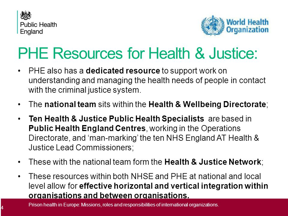 PHE Resources for Health & Justice: PHE also has a dedicated resource to support work on understanding and managing the health needs of people in contact with the criminal justice system.