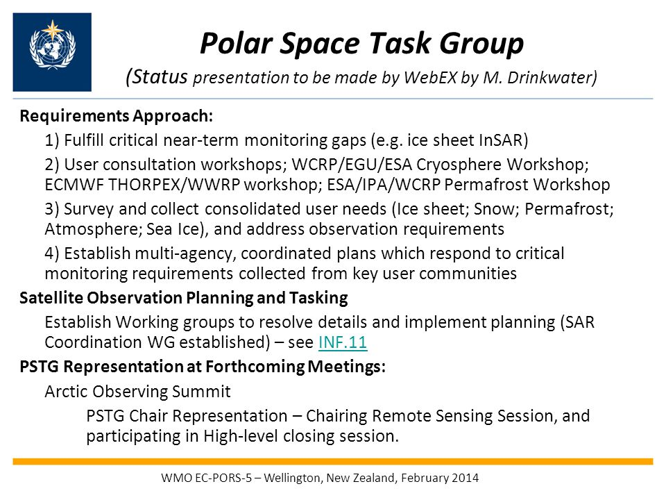 Polar Space Task Group (Status presentation to be made by WebEX by M.