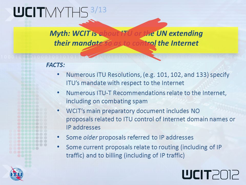 FACTS: Numerous ITU Resolutions, (e.g.