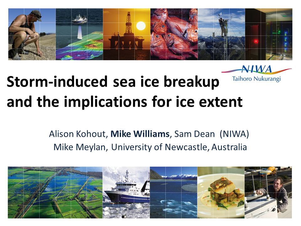 Storm-induced sea ice breakup and the implications for ice extent Alison Kohout, Mike Williams, Sam Dean (NIWA) Mike Meylan, University of Newcastle, Australia