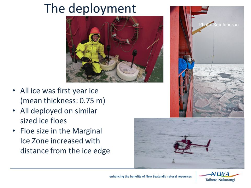 Photo: Rob Johnson Photo: Graham Oakley The deployment All ice was first year ice (mean thickness: 0.75 m) All deployed on similar sized ice floes Floe size in the Marginal Ice Zone increased with distance from the ice edge