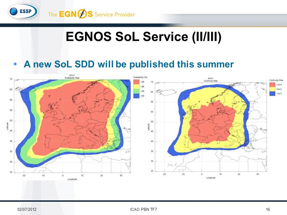  A new SoL SDD will be published this summer 02/07/201216ICAO PBN TF7 EGNOS SoL Service (II/III)