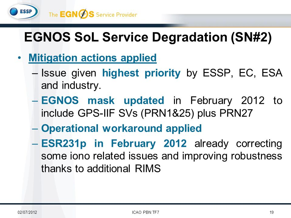 Mitigation actions applied –Issue given highest priority by ESSP, EC, ESA and industry.